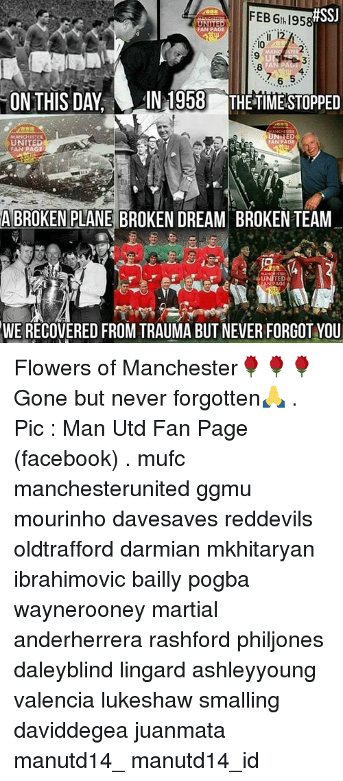 Memes, Martial, and 🤖:  #SSJ  FEB 95  UNITED  FAN PAGE  MAN  ON THIS DAY LAN 1958 THE TIMESTOPPED  ANCHI  UNITED  FAN PAGE  FAN PAGE  A BROKEN PLANE BRO  DREAM BROKENTEAM  ITED  EAN PAGE  WE RECOVERED FROM TRAUMA BUT NEVER FORGOT YOU Flowers of Manchester🌹🌹🌹 Gone but never forgotten🙏 . Pic : Man Utd Fan Page (facebook) . mufc manchesterunited ggmu mourinho davesaves reddevils oldtrafford darmian mkhitaryan ibrahimovic bailly pogba waynerooney martial anderherrera rashford philjones daleyblind lingard ashleyyoung valencia lukeshaw smalling daviddegea juanmata manutd14_ manutd14_id