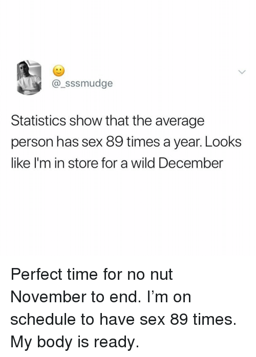 Memes, Sex, and Schedule: @_sssmudge  Statistics show that the average  person has sex 89 times a year. Looks  like I'm in store for a wild December Perfect time for no nut November to end. I'm on schedule to have sex 89 times. My body is ready.