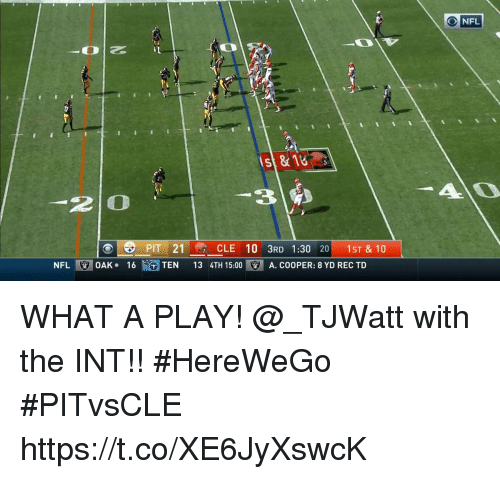 Memes, Nfl, and 🤖: st&18  3 2  2 O  21CLE 10 3RD 1:30 20 1ST & 10  NFL!  OAK-  16t、GTEN  13 4TH 15:00  . A. COOPER: 8 YD REC TD WHAT A PLAY!  @_TJWatt with the INT!! #HereWeGo #PITvsCLE https://t.co/XE6JyXswcK