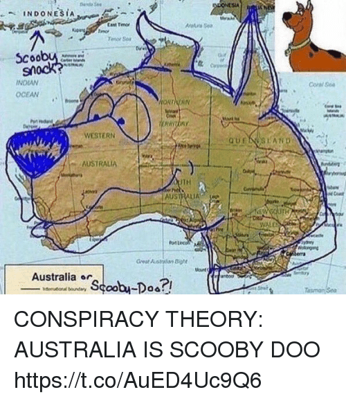 Funny, Scooby Doo, and Australia: StA  Cast Tm  or  coobu  Coral Ge  INDIAN  OCEAN  WESTERN  AUSTRALIA  TH  AUSTRALIA  VALD  Australia ar CONSPIRACY THEORY: AUSTRALIA IS SCOOBY DOO https://t.co/AuED4Uc9Q6