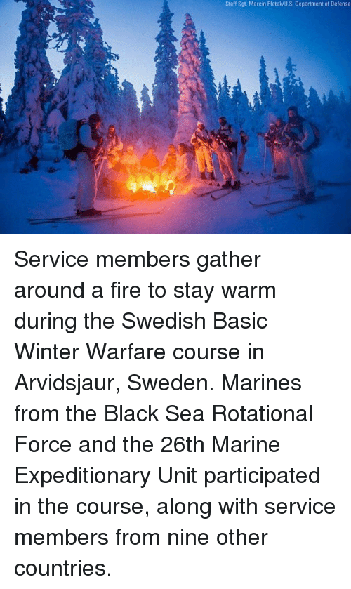 Fire, Memes, and Winter: Staff Sgt. Marcin Platek/U.S. Department of Defense Service members gather around a fire to stay warm during the Swedish Basic Winter Warfare course in Arvidsjaur, Sweden. Marines from the Black Sea Rotational Force and the 26th Marine Expeditionary Unit participated in the course, along with service members from nine other countries.