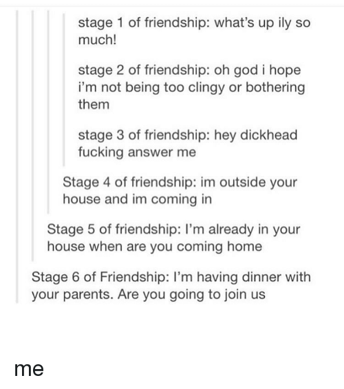 Stage 1 of Friendship What's Up Ily So Much! Stage 2 of