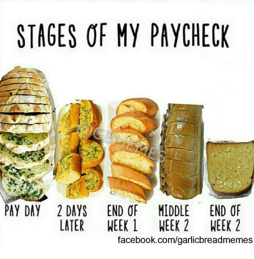stages of my paycheck pay day 2 days end of 3262332 ✅ 25 best memes about garlic bread garlic bread memes