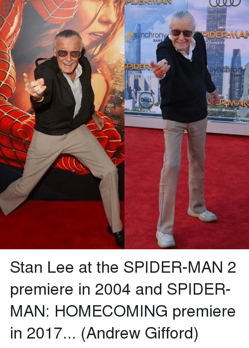 Memes, Spider, and SpiderMan: Stan Lee at the SPIDER-MAN 2 premiere in 2004 and SPIDER-MAN: HOMECOMING premiere in 2017...  (Andrew Gifford)