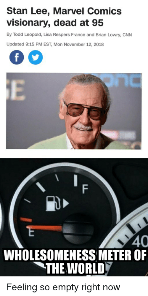 Stan Lee Marvel Comics Visionary Dead at 95 by Todd Leopold Lisa