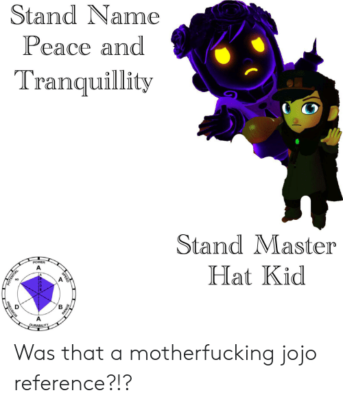 Stand Name Peace and Tranquillity StandMaster POWER a Hat