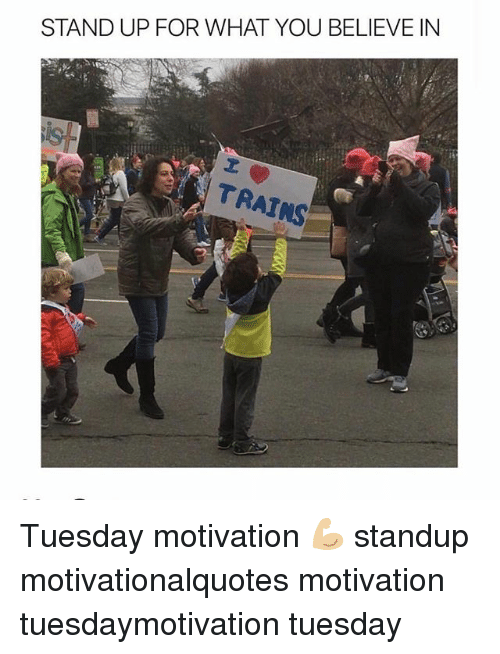 Memes, Standup, and 🤖: STAND UP FOR WHAT YOU BELIEVE IN  20  TRAINS Tuesday motivation 💪🏼 standup motivationalquotes motivation tuesdaymotivation tuesday