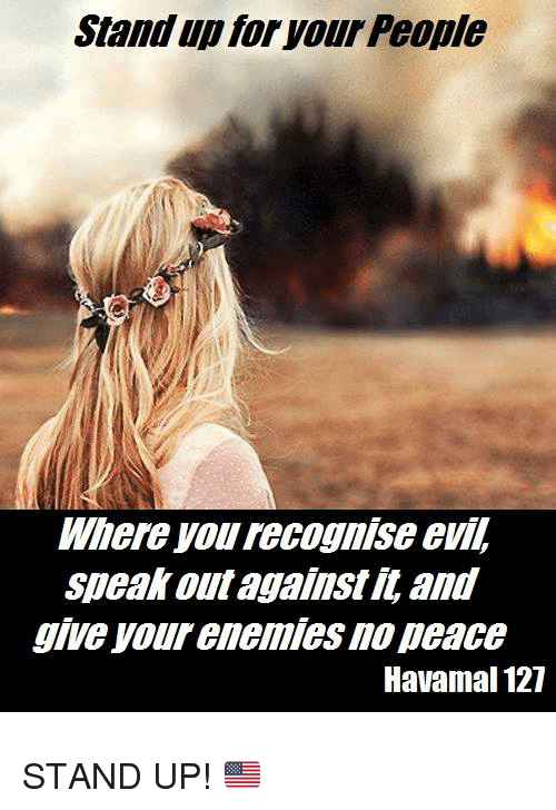 Enemies, Evil, and Peace: Stand up for your People  Where you recognise evil,  speak out against it, ani  give your enemies no peace  Havamal 127