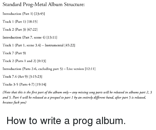 Standard Prog-Metal Album Structure Introduction Part 1 2345