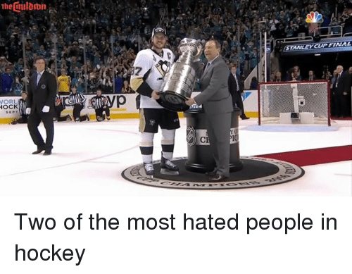 Hockey, Stanley Cup, and Stanley: STANLEY CUP FtNAL  7  O  Q  HOCK  RCE Two of the most hated people in hockey