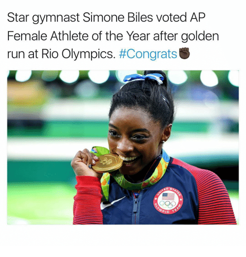 Memes, Gymnastics, and Olympics: Star gymnast Simone Biles voted AP  Female Athlete of the Year after golden  run at Rio Olympics  #Congrats  PIC