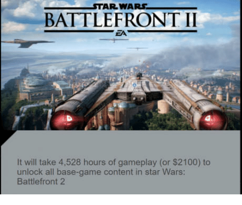 Star Wars, Game, and Star: STAR WARS  BATTLEFRONT II  EA  It will take 4,528 hours of gameplay (or $2100) to  unlock all base-game content in star Wars  Battlefront 2