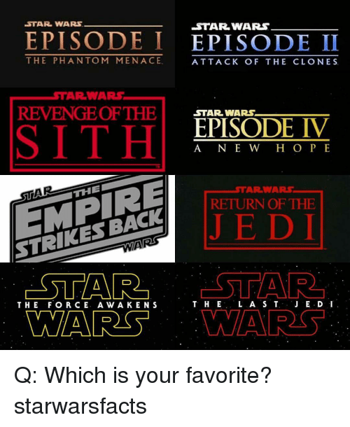 Ken, Memes, and Revenge: STAR WARS  EPISODE I  EPISODE II  THE PHAN TOM MENACE  ATTACK OF THE CLONES  WARS,  AR REVENGE OF THE  STAR WARS  EPISODE IV  A NE W H O P E  THE  RETURN OF THE  STRIKES BACK  STAR  L A S T  JE.D I  T. HE  THE FOR CE. A w A KEN S  MARS Q: Which is your favorite? starwarsfacts