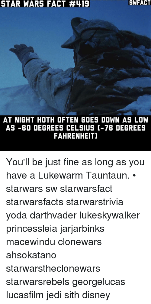 STAR WARS FACT 419 AT NIGHT HOTH OFTEN GOES DOWN AS LOW 60