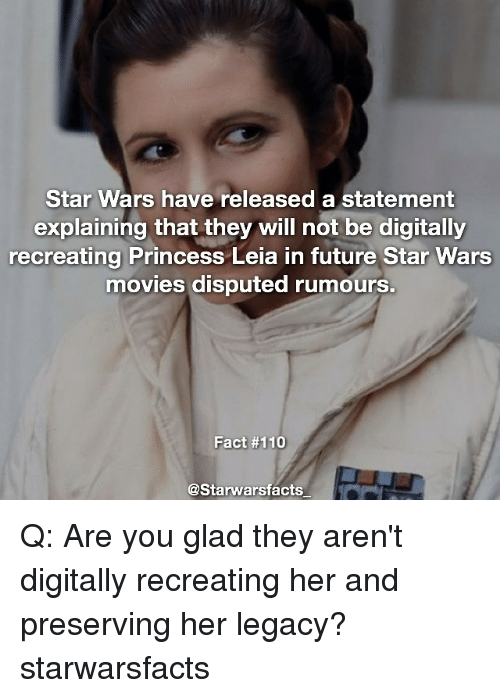 star wars have released a statement explaining that they will 11975880 ✅ 25 best memes about princess leia princess leia memes