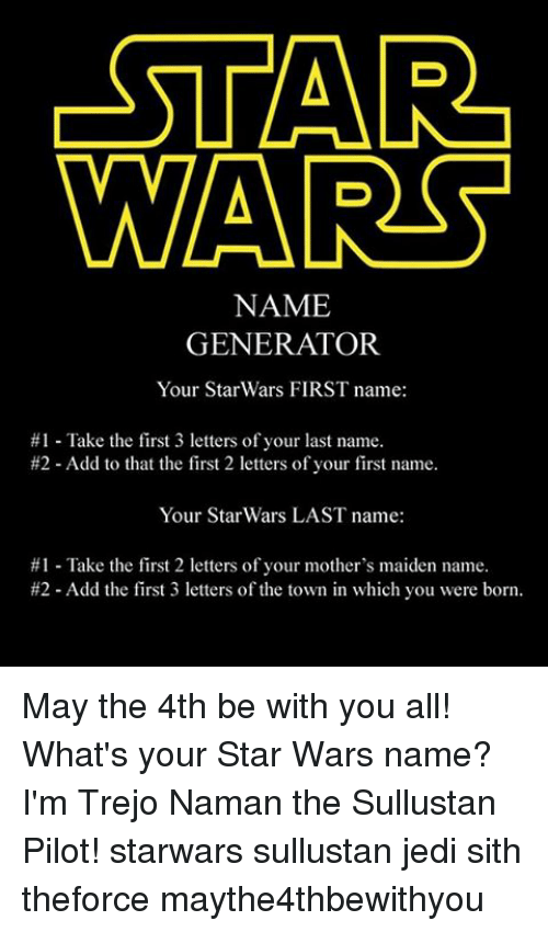 STAR WARS NAME GENERATOR Your Star Wars FIRST Name #1 Take the