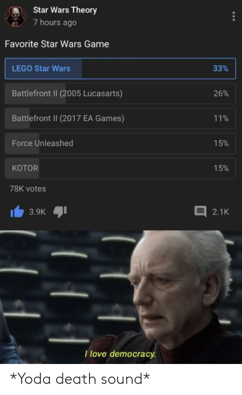 Lego, Star Wars, and Yoda: Star Wars Theory  7 hours ago  Favorite Star Wars Game  33%  LEGO Star Wars  Battlefront II (2005 Lucasarts)  26%  Battlefront Il (2017 EA Games)  11%  Force Unleashed  15%  котOR  15%  78K votes  3.9K  2.1K  Tlove democracy *Yoda death sound*