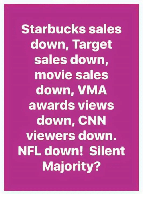 cnn.com, Memes, and Nfl: Starbucks sales  down, Target  sales down  movie sales  down, VMA  awards views  down, CNN  viewers down.  NFL down! Silent  Majority?