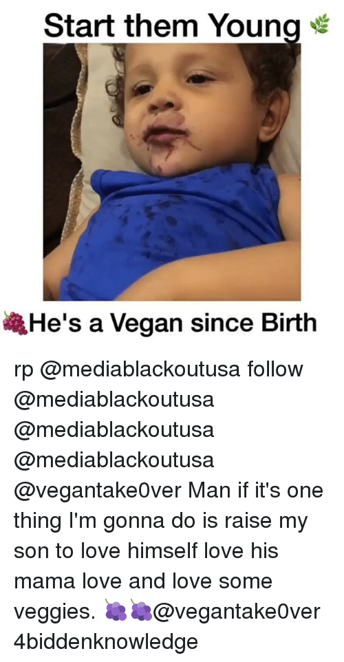 Love, Memes, and Vegan: Start them Young  He's a Vegan since Birth rp @mediablackoutusa follow @mediablackoutusa @mediablackoutusa @mediablackoutusa @vegantake0ver Man if it's one thing I'm gonna do is raise my son to love himself love his mama love and love some veggies. 🍇🍇@vegantake0ver 4biddenknowledge