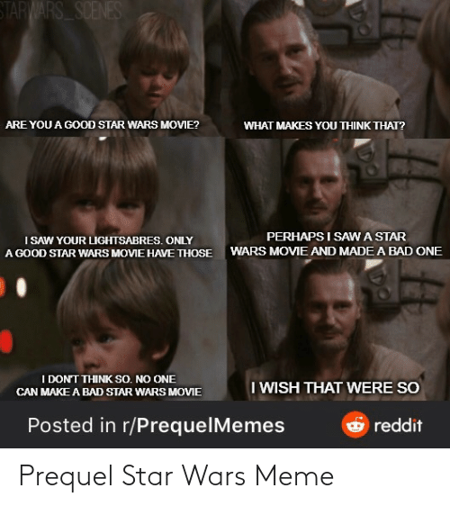 Bad, Meme, and Reddit: STARWARS SCENES  ARE YOU A GOOD STAR WARS MOVIE?  WHAT MAKES YOU THINK THAT?  PERHAPS I SAWA STAR  I SAW YOUR LIGHTSABRES. ONLY  A GOOD STAR WARS MOVIE HAVE THOSE  WARS MOVIE AND MADE A BAD ONE  I DON'T THINK SO. NO ONE  I WISH THAT WERE SO  CAN MAKE A BAD STAR WARS MOVIE  Posted in r/PrequelMemes  reddit Prequel Star Wars Meme