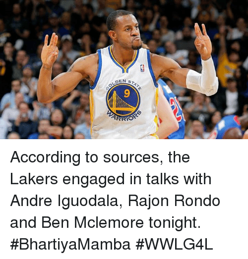Los Angeles Lakers, Memes, and Rajon Rondo: STAT  OLDE  9 According to sources, the Lakers engaged in talks with Andre Iguodala, Rajon Rondo and Ben Mclemore tonight.  #BhartiyaMamba #WWLG4L