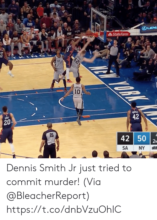 Memes, State Farm, and Murder: State Farm  10  20  42  25  42 50  SA NY A Dennis Smith Jr just tried to commit murder!   (Via @BleacherReport)  https://t.co/dnbVzuOhIC