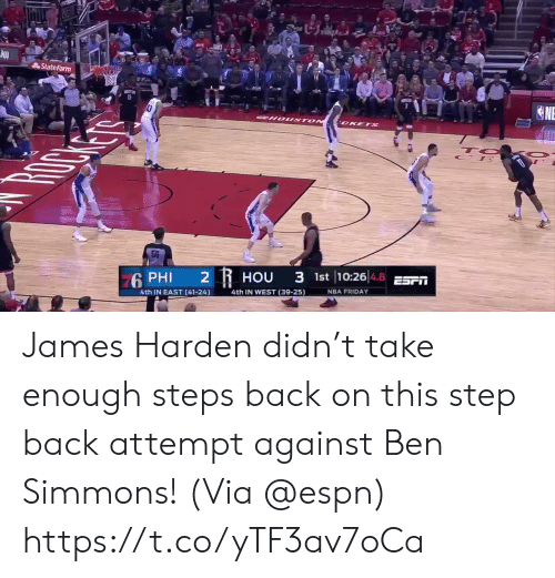 Espn, Friday, and James Harden: State Farm  6 PHI 2 R HOU 3 1st 10:26 48 E  4.8  4th IN EAST (41-24)  4th IN WEST (39-25)  NBA FRIDAY James Harden didn't take enough steps back on this step back attempt against Ben Simmons!   (Via @espn) https://t.co/yTF3av7oCa