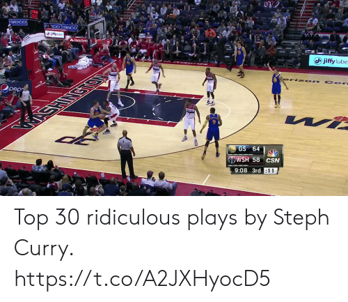 Memes, State Farm, and Steph Curry: State Farm  (d) jiffy lube  pep  GS 64  WSH 58 CSN  9:08 3rd :11 Top 30 ridiculous plays by Steph Curry. https://t.co/A2JXHyocD5
