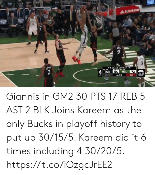 Memes, History, and State Farm: State Farm  MIL LEADS SERIES 1 0  TOR  MIL  72  3RD 6:58 13  54 Giannis in GM2 30 PTS 17 REB 5 AST 2 BLK   Joins Kareem as the only Bucks in playoff history to put up 30/15/5. Kareem did it 6 times including 4 30/20/5.  https://t.co/iOzgcJrEE2