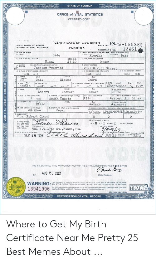 STATE OF FLORIDA OFFICE of VITAL STATISTICS CERTIFIED COPY