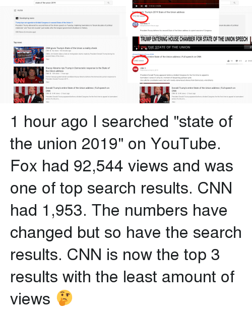 """cnn.com, Donald Trump, and Lay's: state of the union 2019  1:13:14/2:16:54  FILTER  h: Trump's 2019 State of the Union address  319,742 views  Developing news  Trump lays out agenda to divided Congress in second State of the Union  President Trump delivered his second State of the Union speech on Tuesday, imploring lawmakers to """"break decades of political  stalemate"""" and """"heal old wounds"""" just weeks after the longest government shutdown in history  Fox News  WS  reak decades of political  Streamed live 4 hours ago  President Trump delivers his second State of the Union address to a joint session of Congress  FOX News Channel (FNC) is a 24-hour all-encompassing news service dedicated to delivering  CBS News (6 minutes ago)  TRUMP ENTERING HOUSE CHAMBER FOR STATE OF THE UNION SPEECH  Top news  )THEAJATE OF THE UNION  THE STATE OF THE UNIO  CNN gives Trump's State of the Union a reality check  CNN No views 46 minutes ago  BORDER BARRIERS  CNN's Jim Sciutto takes a look at immigration claims made by President Donald Trump during his  second State of the Union.  #Stateofth  #Trump #CNN  s entire State of the Union address 
