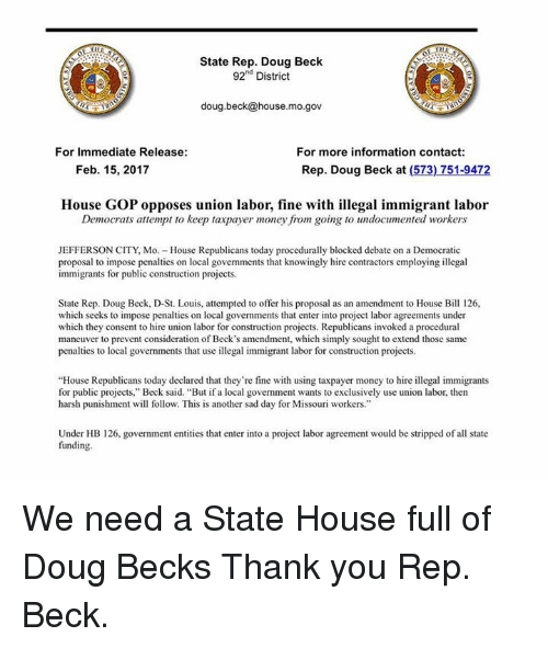 State Rep Doug Beck 92nd District Dougbeckhousemogov For Immediate