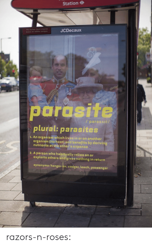 Target, Tumblr, and Blog: Station e  JCDecaux  parasite  plural: parasites  / paresAIt/  1. An organism which lives in or on another  organism lits host] and benefits by derivin  nutrients at the other's expense  2. A person who habitually relies on or  exploits others and givèshothing in return  synonyms: hanger-on, cadger, leech, passenger razors-n-roses: