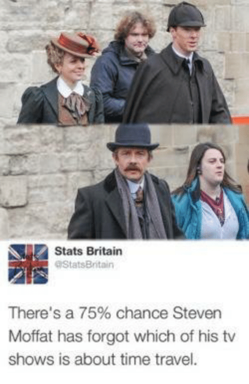 Memes, TV Shows, and Time: Stats Britain  aStatsBritain  There's a 75% chance Steven  Moffat has forgot which of his tv  shows is about time travel.