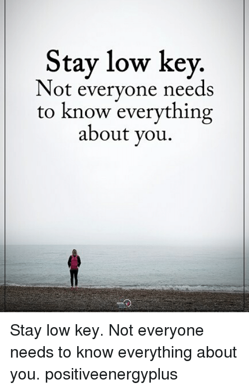 Low Key, Memes, and 🤖: Stay low key.  Not everyone needs  to know everything  about you Stay low key. Not everyone needs to know everything about you. positiveenergyplus