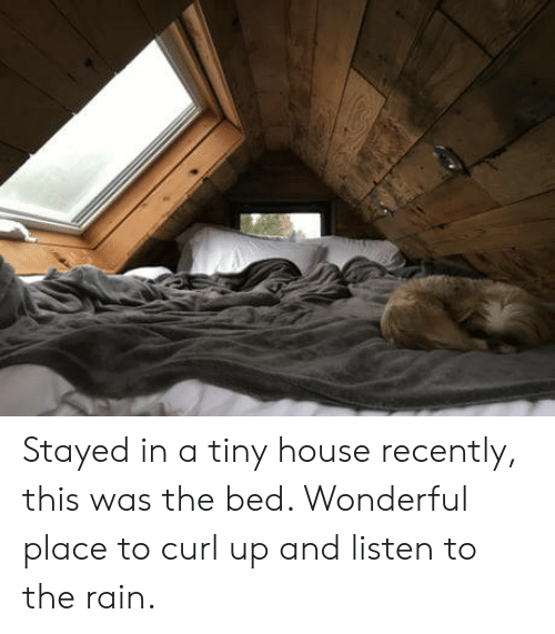 House, Rain, and Curl: Stayed in a tiny house recently, this was the bed. Wonderful place to curl up and listen to the rain.