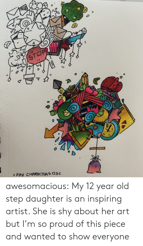 Tumblr, Blog, and Old: STCPL  > FAV CHARACTER S OSC awesomacious:  My 12 year old step daughter is an inspiring artist. She is shy about her art but I'm so proud of this piece and wanted to show everyone