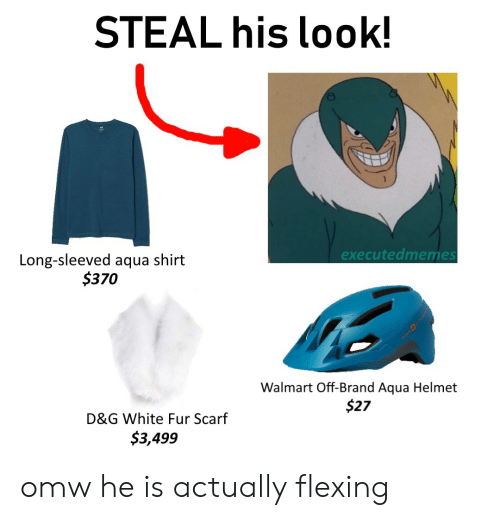 Walmart, White, and Dank Memes: STEAL his look!  excecutedmemes  Long-sleeved aqua shirt  $370  Walmart Off-Brand Aqua Helmet  $27  D&G White Fur Scarf  $3,499 omw he is actually flexing