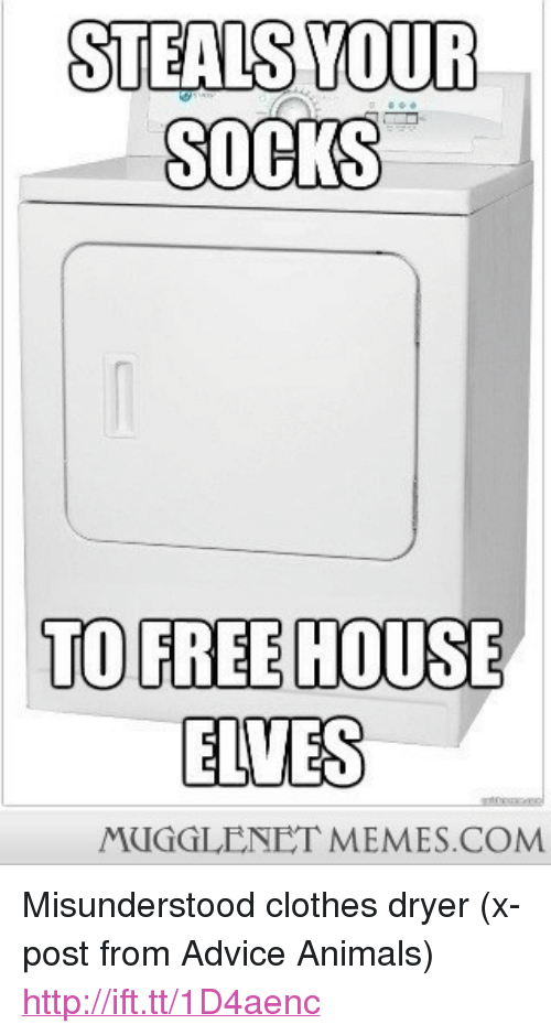 """Advice, Animals, and Clothes: STEALS YOUR  SOCKS  TO FREE HOUSE  ELVES  MUGGLENET MEMES.COM <p>Misunderstood clothes dryer (x-post from Advice Animals) <a href=""""http://ift.tt/1D4aenc"""">http://ift.tt/1D4aenc</a></p>"""