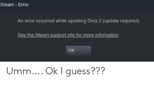 an error occurred while updating dota 2