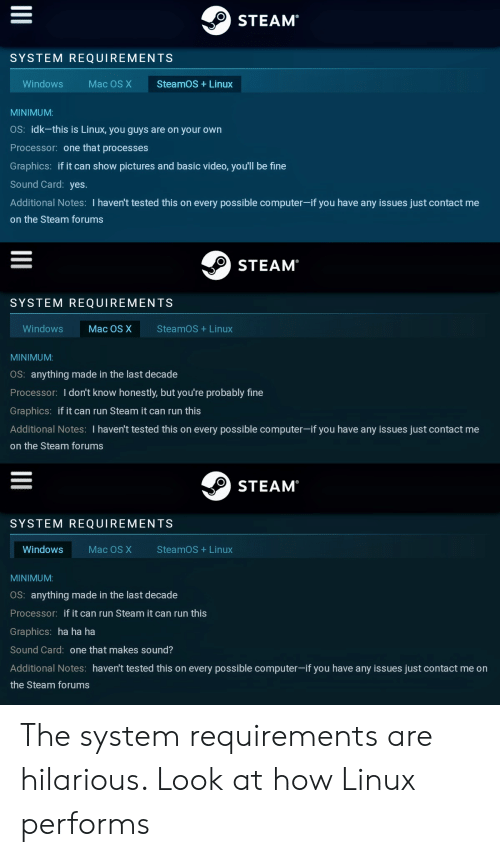 STEAM SYSTEM REQUIREMENTS Windows Mac OS X SteamOS Linux