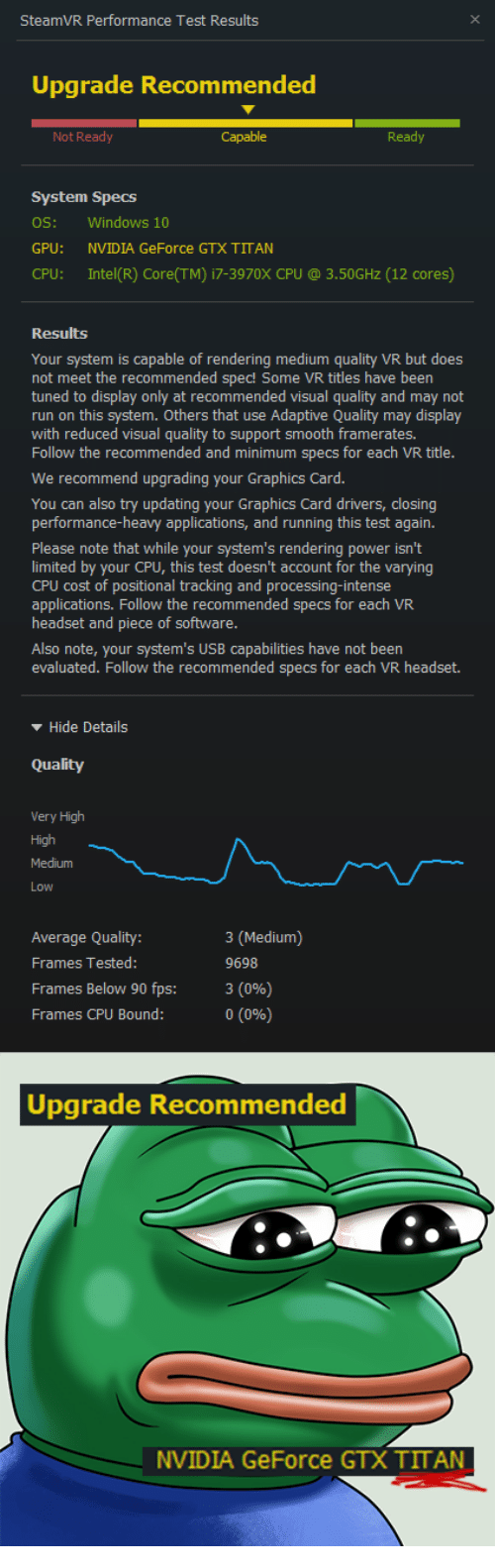 SteamVR Performance Test Results Upgrade Recommended Not Ready Ready