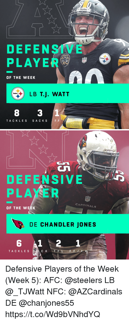 Memes, Cardinals, and Steelers: Steelers  DEFENSIVE  PLAYER  Steelers  DAR  NTI  OF THE WEEK  LB T.J. WATT  Steelers  8 3 1  TA CKLES  S A C K S   DEFENSIVE D  PLAYER  CARDINALS  OF THE WEEK  DE CHANDLER JONES  6  1  TA CKLES Defensive Players of the Week (Week 5):  AFC: @steelers LB @_TJWatt  NFC: @AZCardinals DE @chanjones55 https://t.co/Wd9bVNhdYQ