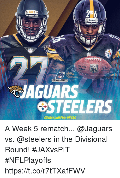 Memes, Nfl, and Steelers: Steelers  NFL  NFL  DIVISIONAL  JAGUARS  STEELERS  Steelers  SUNDAY 1:05PMET ONCBS A Week 5 rematch...  @Jaguars vs. @steelers in the Divisional Round! #JAXvsPIT #NFLPlayoffs https://t.co/r7tTXafFWV