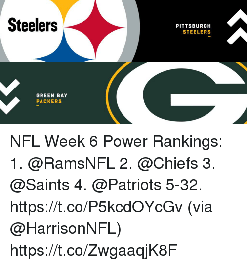 Green Bay Packers, Memes, and Nfl: Steelers  PITTSBURGH  STEELERS  GREEN BAY  PACKERS NFL Week 6 Power Rankings:  1. @RamsNFL 2. @Chiefs 3. @Saints 4. @Patriots 5-32. https://t.co/P5kcdOYcGv (via @HarrisonNFL) https://t.co/ZwgaaqjK8F