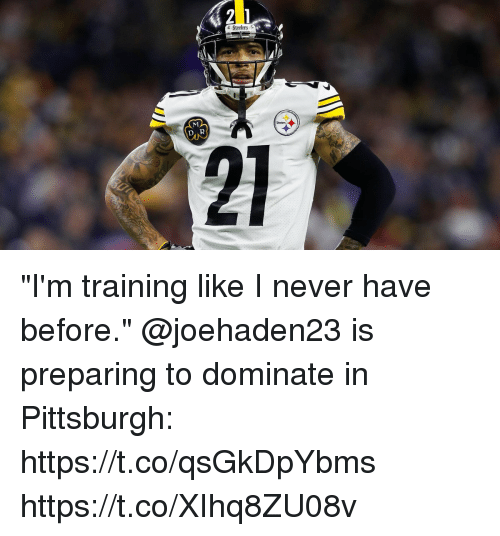 """Memes, Pittsburgh, and Steelers: Steelers  Steelers """"I'm training like I never have before.""""  @joehaden23 is preparing to dominate in Pittsburgh: https://t.co/qsGkDpYbms https://t.co/XIhq8ZU08v"""