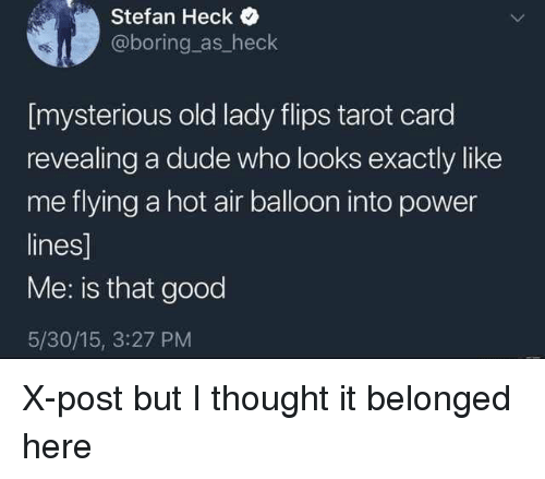 Dude, Good, and Hot Air: Stefan Heck  @boring as_heck  [mysterious old lady flips tarot card  revealing a dude who looks exactly like  me flying a hot air balloon into power  lines]  Me: is that good  5/30/15, 3:27 PM X-post but I thought it belonged here