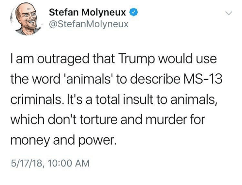 Animals, Memes, and Money: Stefan Molyneux  @StefanMolyneux  I am outraged that Trump would use  the word'animals' to describe MS-13  criminals. It's a total insult to animals,  which don't torture and murder for  money and power.  5/17/18, 10:00 AM