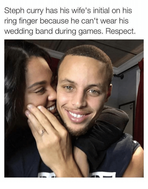 Steph Curry Has His Wifes Initial on His Ring Finger Because He Can