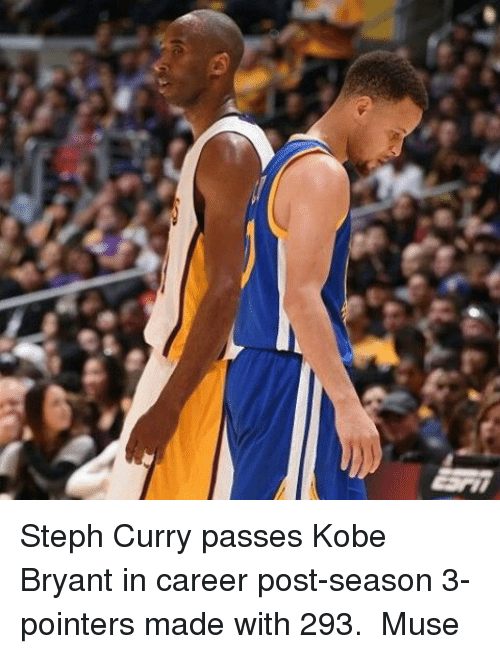 Basketball, Golden State Warriors, and Kobe Bryant: Steph Curry passes Kobe Bryant in career post-season 3-pointers made with 293.  Muse
